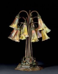 Tiffany Studios Twelve Light Pond Lily Lamp.